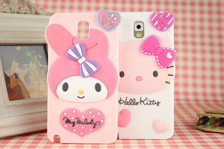3D Cute Hello kitty Cartoon Case Samsung Galaxy Note 3 N9000 Silicon Melody Skin Cover Cases - Shen zhen HW (3C store Digital Accessories Company)