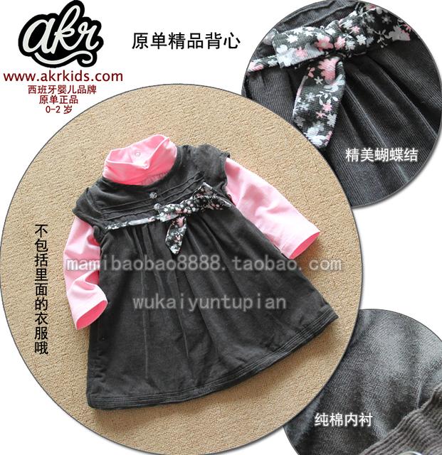 Nuevo 2013 otoño invierno de la niña sin mangas de una sola pieza del todo fósforo del vestido del bebé del vestido del tanque