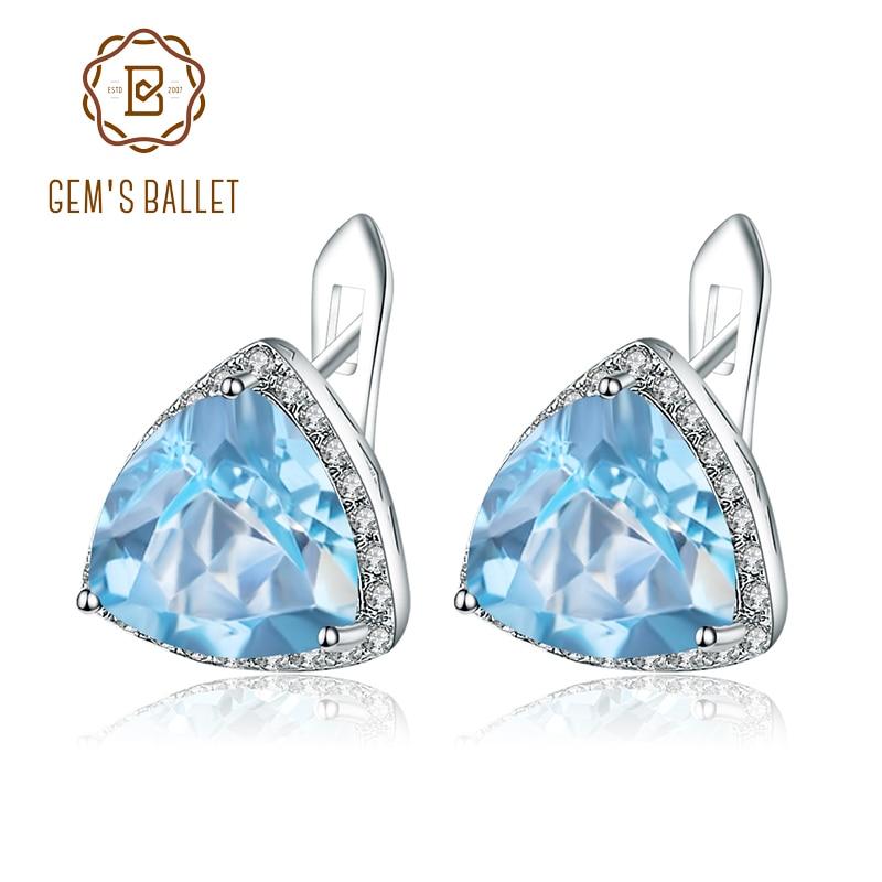 Earrings Gem s Ballet 925 Sterling Silver Fine Jewelry 6 16Ct Natural Sky Blue Topaz Gemstone