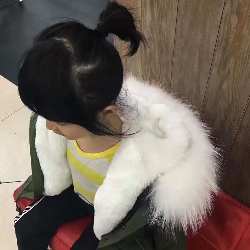 JKP winter fur army green short section liner rabbit fur kids cotton clothing blend cotton coat jacket children's Coats CT-51 jkp 2018 autumn and winter new stars with the same coat genuine rabbit fur coat big raccoon fur collar children s jacket ct 16