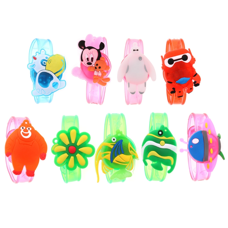 Xmas Gift Children Kids LED Light Glow Luminous Wrist Band Cartoon Bracelet Toys