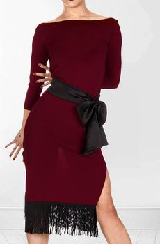 Blackpool Latin new women's capillitia backless seven point sleeve dress W16014B tassel practice performance