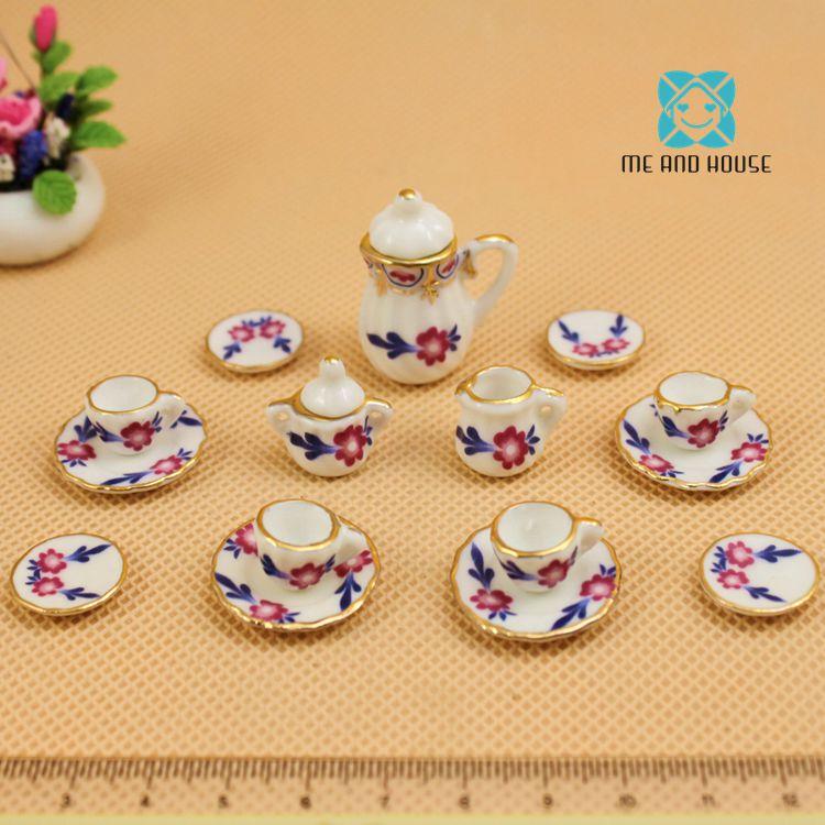 Мини-Китай Чайные сервизы для кукольной кухне петуния trumpetflower миниатюрные фарфоровые чашки чая 1/12 масштаба