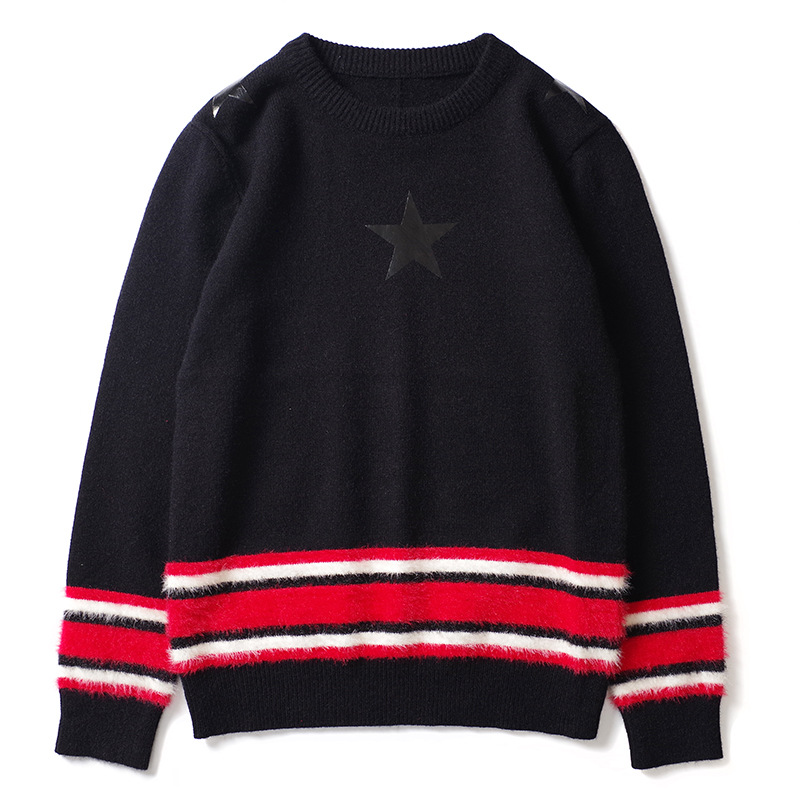 New Punk Man Luxury Winter Gentleman Leather Stars Stripes Knit Casual Sweaters Pullover Asian Plug Size High Drake #L26