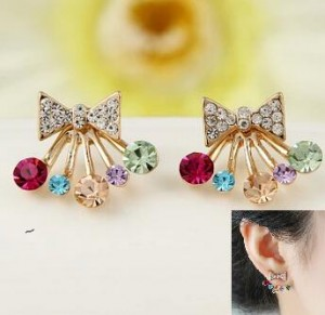 new! Fashion Boutiques Jewelery Gold Sweet Cute Color Crystal Bows Queen Crown Star Earrings Earrings Bijouterie