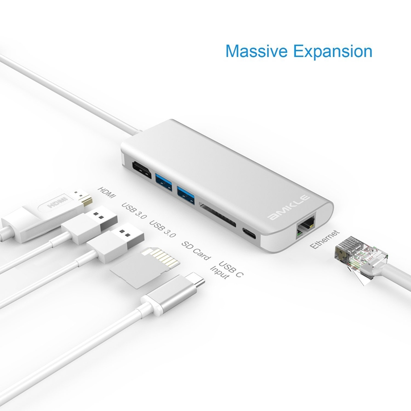 Amkle 6 en 1 USB 3,0 HUB USB 3,1 tipo C a HDMI/USB 3,0/RJ45/SD /TF/Tipo C Adaptador convertidor para Macbook Pro Google Chromebook