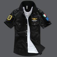 Plus Size 5XL 6XL 7XL 8XL Bust 155cm Italy Brand Air Force Shirts Men Cotton Short Shirt Men Big Size XL XXL XXXL 4XL