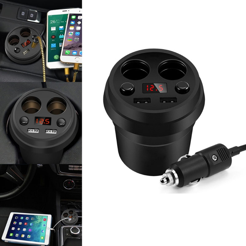 Dual USB Cup Holder LED Voltmeter Cigarette Lighter Socket Car Charger Adapter