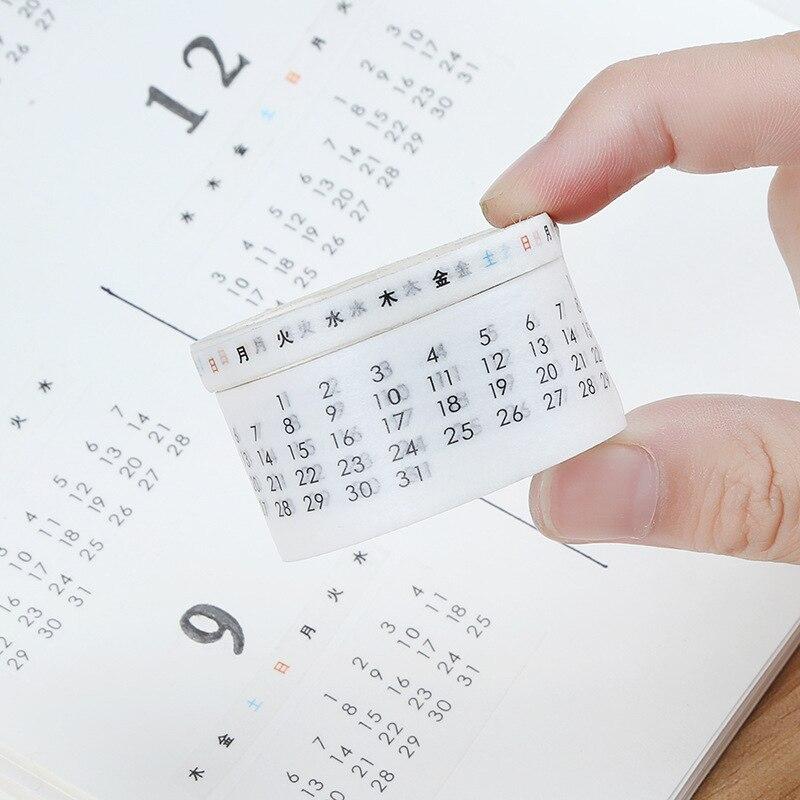 2 Pcs/set Date Week Calendar Washi Masking Tape Paper Stickers Scrapbooking DIY Decorative Tape Japanese Stationery