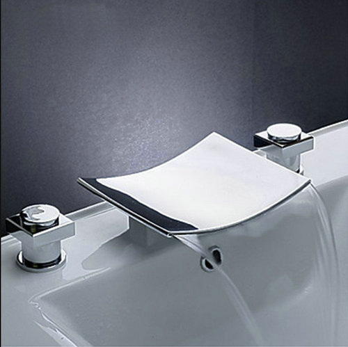 Bathtub Faucet Torneira Deck Mounted Waterfall Bathrooom Basin Chrome Double Handles Sink Faucets,Mixers & Taps