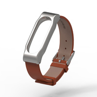 Original Mijobs Xiaomi Mi Band 2 Metal Leather Strap Belt Wristband For Mi Band 2 Smart