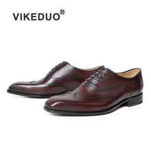 VIKEDUO Genuine Leather Brogues Shoes Handmade Wedding Square Toe Mens Formal Dress Footwear Fashion Zapatos de Hombre