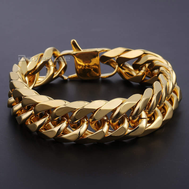 Davieslee 18mm Wide Heavy Gold-color Double Cuban Curb Link Rombo 316L Stainless Steel Bracelet Mens Chain Boys Jewelry DLHB421