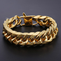 18mm Wide Heavy Gold Plated Double Cuban Curb Link Rombo 316L Stainless Steel Bracelet Mens Chain