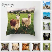 Fuwatacchi Animals Cushion Cover Black White Alpaca Cute Expression Pillow for Home Chair Decoration Pillowcases 45*45 cm