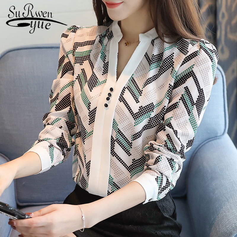 2019 Chiffon Women Blouse Shirt Print Shirt Long Sleeve Plus Size V-neck Office Lady Blouse Women's Clothing Tops Blusas D179 30