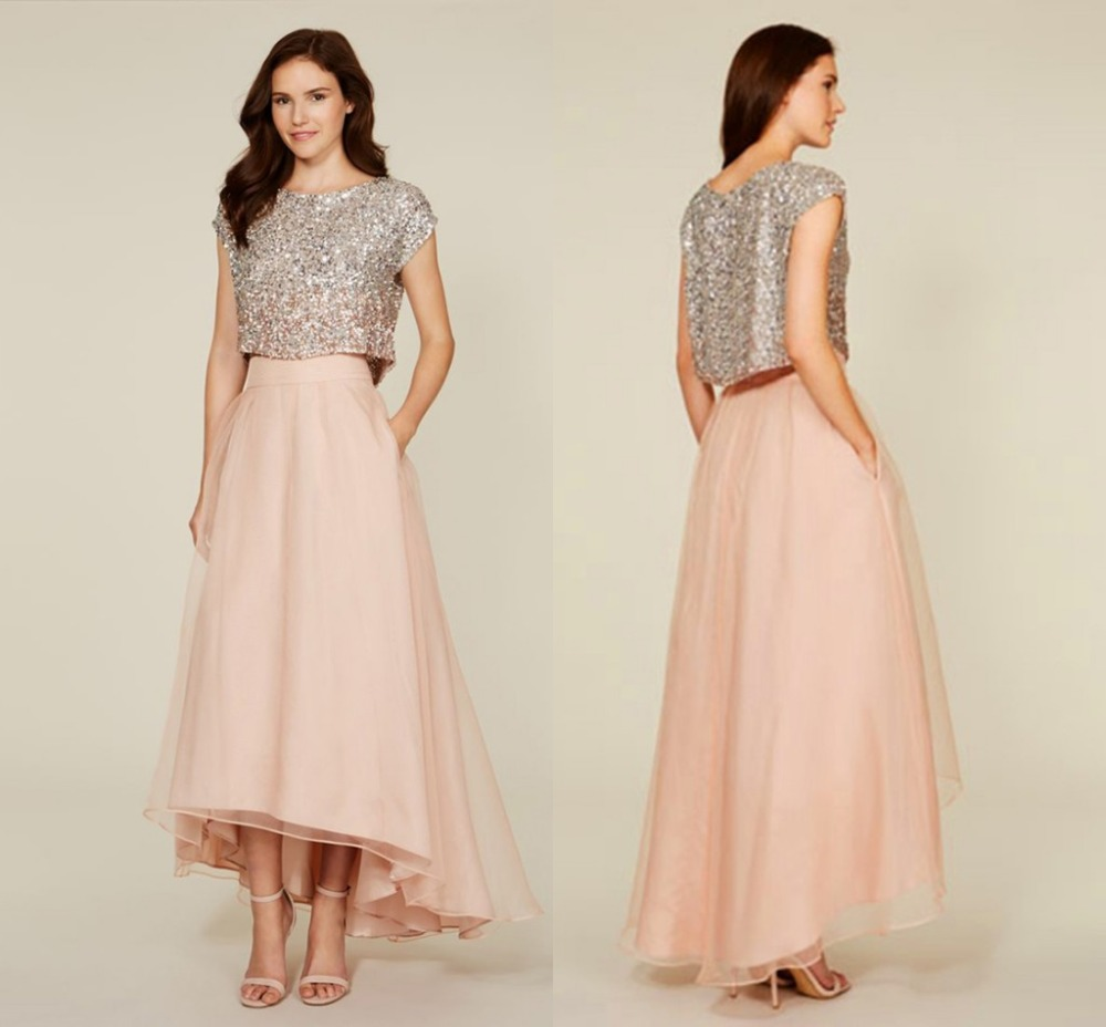 2017 Two Piece Blush Sequin Bridesmaid Dresses Cap Sleeve High Low