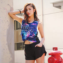 2018 New Back Mesh Sports Top Printing Yoga Top Sport Top Fitness Women Workout Fitness Sports Bra Match Gym Top T Shirt(China)