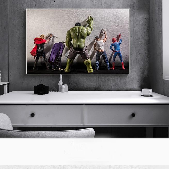 Avengers Movie Hulk Superheros In Toilet Thor Poster Nordic Funny Marvel Heros Kids Room Decor Wall Art Canvas Painting Cuadro