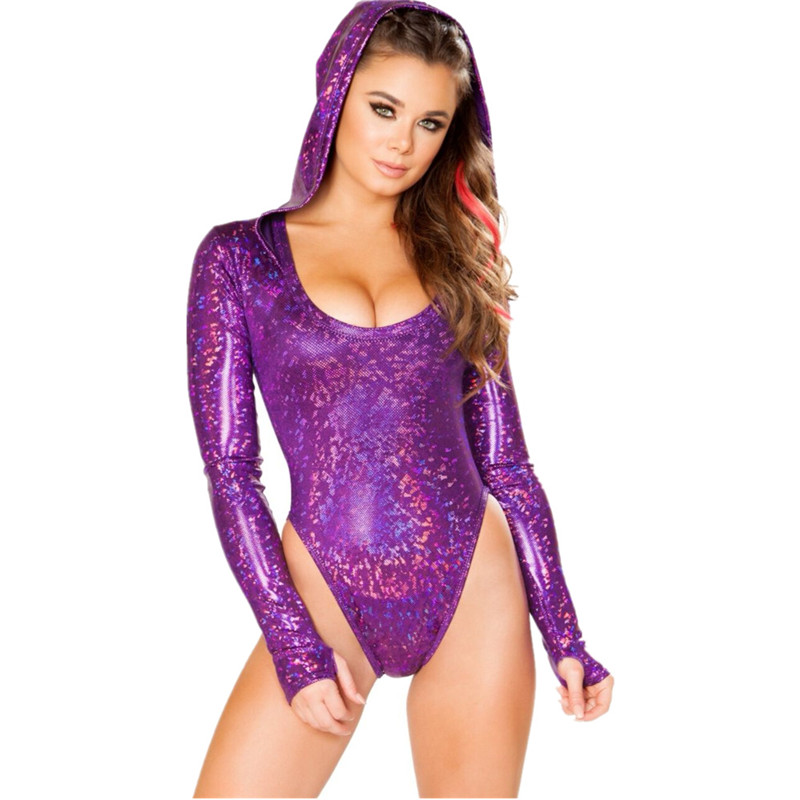 Shiny Holographic Hooded Bodysuit Women Sexy Low Cut Long Sleeve   Jumpsuit   2019 Party Club Summer Beach Bodycon Playsuit 5 Colors