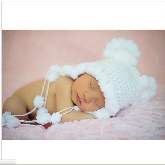 77a5a9e98310e Nouveau-né mohair oreille ours bonnet couleur blanche 0-3 mois nouveau-né