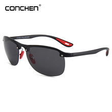 CONCHEN 2019 New Classic Polarized Plastic Sunglasses For Men Women Driving Travel Semi Rimless Sun Glasses Male Goggle UV400