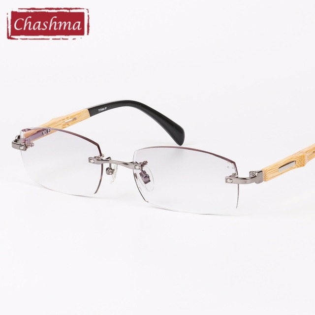 2a665d9748 Chashma Diamond Trimmed Titanium Frame Bamboo Temple Tint Lenses Quality Rimless  Prescription Glasses Frame for Man