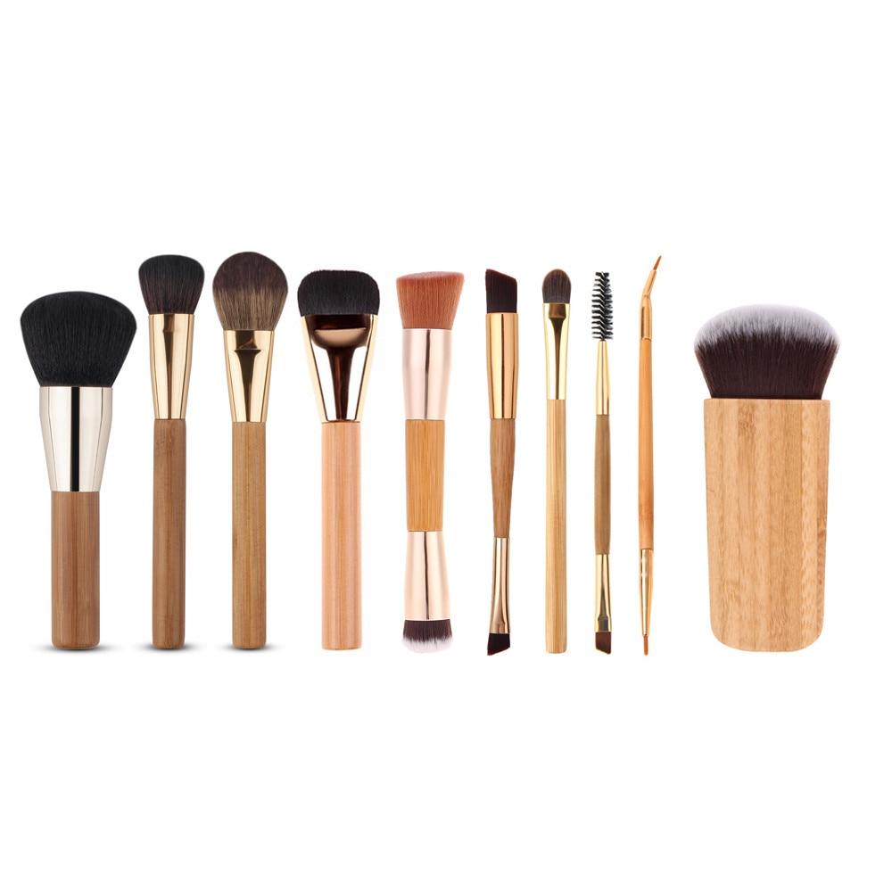 2017 Luxury Fashion Women 10Pcs Cosmetic Brush Makeup Brush Sets Kits Tools A21 Drop Ship