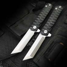 ZASHHU  Folding Knife D2 Blade Steel Handle Tactical Knives Camping Survival Hunting Pocket Flipper Knife EDC Tools
