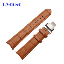 Genuine leather leather pattern classic Watchbands 20mm wristwatch watch strap Bamboo grain wristwatches belt butterfly clasp(China)