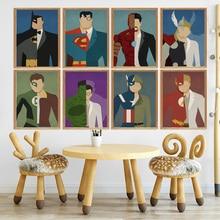 Cartoon DC Comics Superman Batman Wonder Woman Iron Man Nordic Poster Wall Art Canvas Painting Picture Baby Kids Room Decor