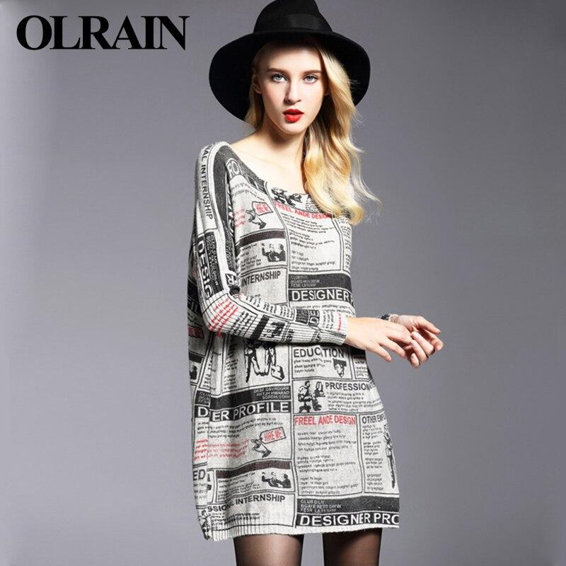 Olrain significativamente mujeres de gran tamaño de impresión suéter flojo de gr