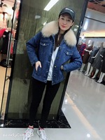 JZAYV Factory Navy Demin Jacket Winter Nude Color Winter Faux Fur Lining Top Quality Wear