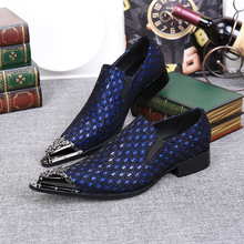2017 Luxury Fashion Blue Silver Men Loafers Genuine Leather Casual Shoes Mens Formal Shoes Oxford Shoes For Men Plus Size 38-46