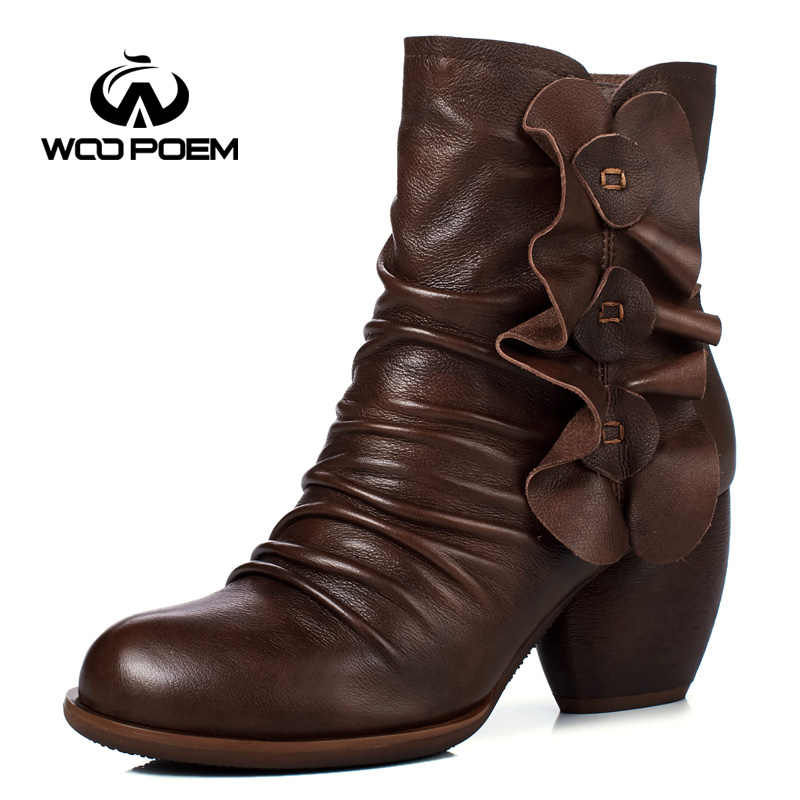 WooPoem Genuine Leather Boots High Heel Mid-Calf Boots Winter Shoes Woman Retro Flower Women Boots Winter Boots 1087-23 double buckle cross straps mid calf boots