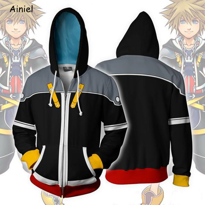Kingdom Hearts Sora Sweatshirt Cosplay Costume Coat Adult Anime 3D Printed Jacket Sweater Casual Hoodie Zipper Adult Men Women