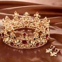 Vintage Baroque Bridal Tiaras Crowns Crystal Pageant Bridal Wedding Accessories Headband Headband Wedding Tiara With Earrings