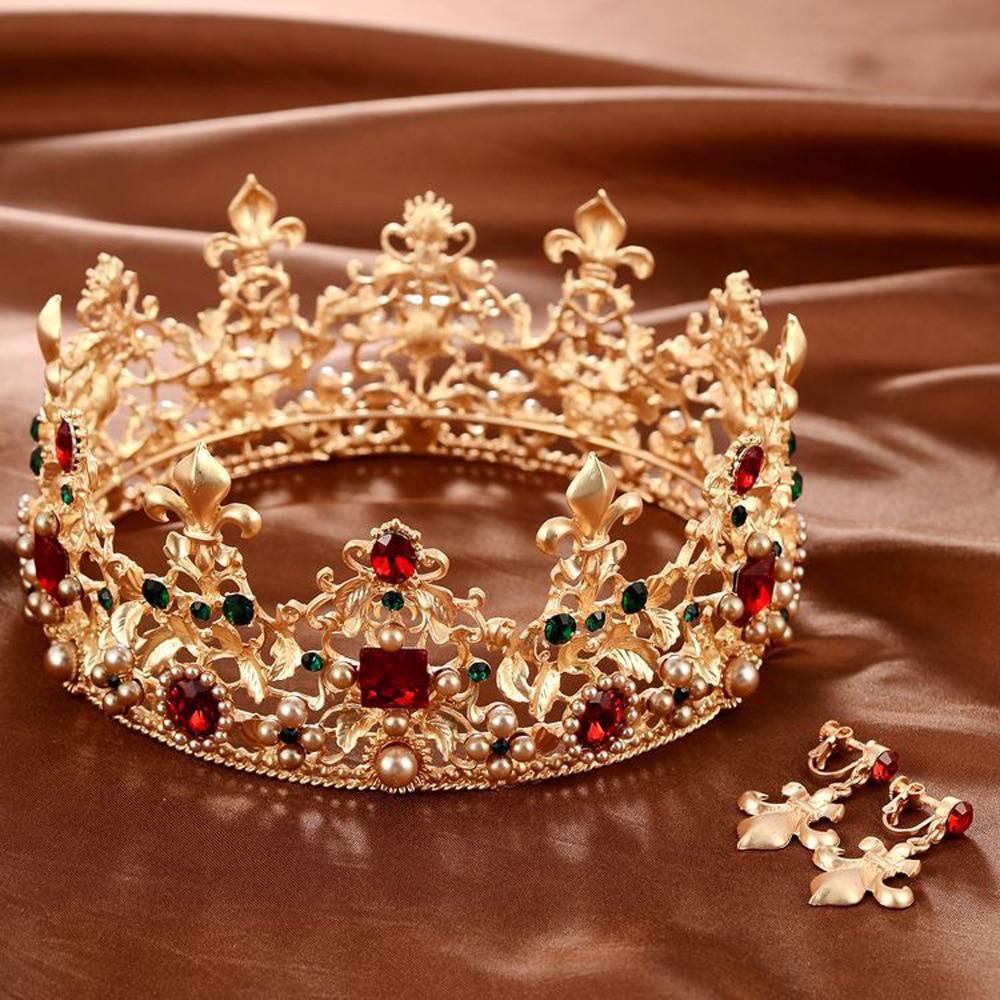 Baroque Retro Luxury Pearl Crystal Gold Crown Bridal