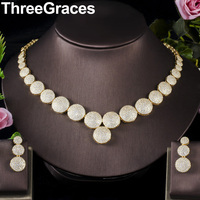 ThreeGraces Classic Dubai Jewelry Sets Party Dress Accessories CZ Yellow Gold Round Wedding Necklaces Earrings for Brides JS264