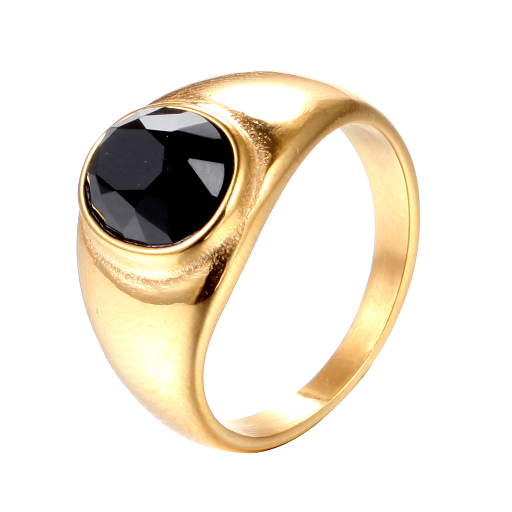 Oktrendy Stainless Steel Mens Rings 7 12 Size Rhinestone Big Crystal Wedding Rings For Women Gold Color Fashion Jewelry in Wedding Bands from Jewelry Accessories