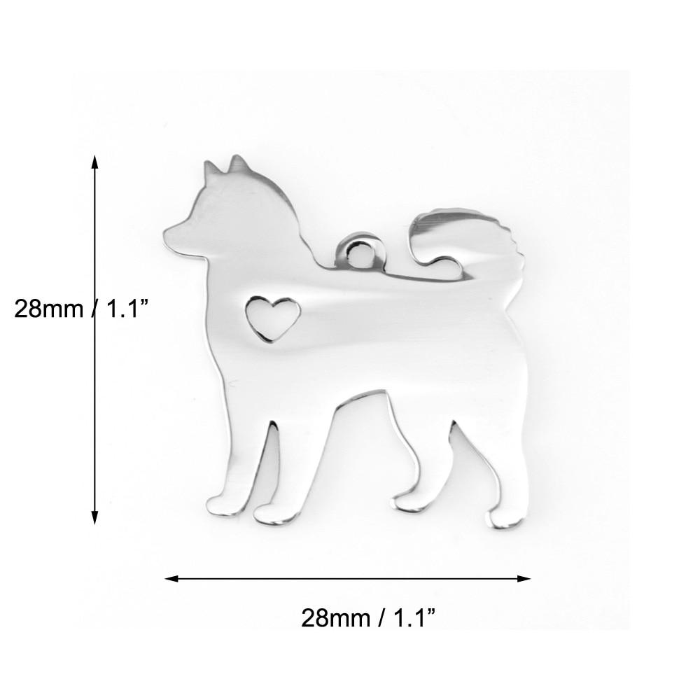 Charm Pendant DIY Sled Dog Alaskan Malamute Siberian Husky Heart Love Double Mirror Polish Stainless Steel Wholesale 50pcs