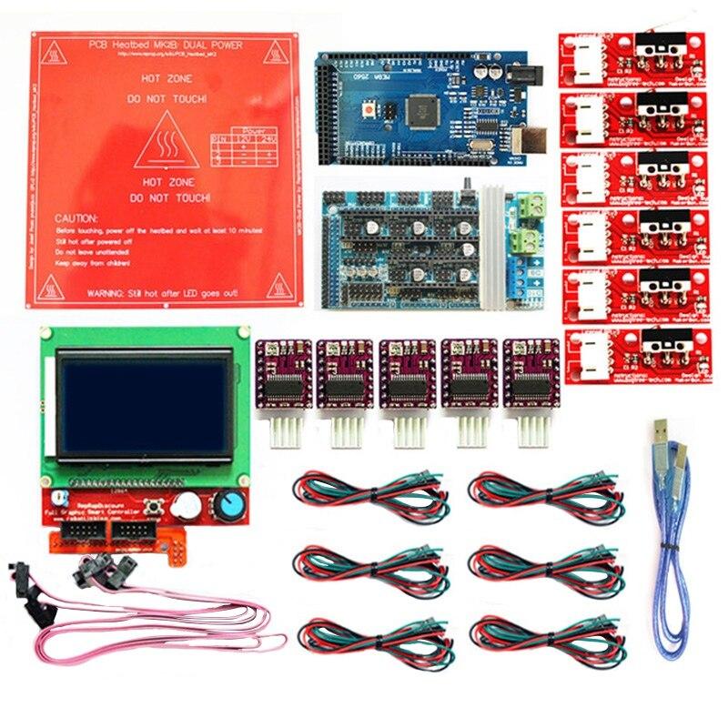 HOT-pour Reprap rampes 1.6 Kit avec Mega 2560 R3 + Heatbed Mk2B + 12864 Lcd contrôleur + Drv8825 + interrupteur mécanique + câbles pour