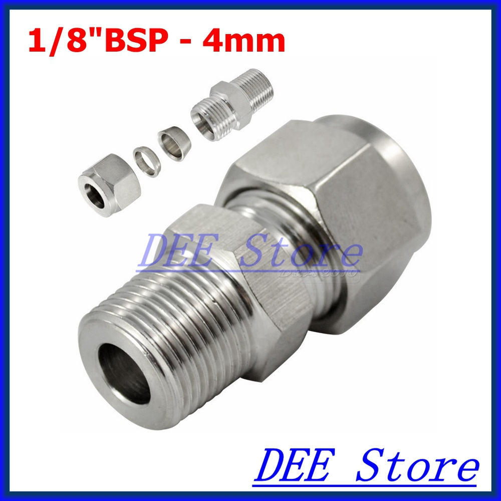 3PCS 1/8BSP x 4MM Double Ferrule Tube Pipe Fittings Threaded Male Connector Stainless Steel SS 304 New Good Quality new 1 4 npt to 6mm compression male elbow double ferrule stainless steel 304 fittings