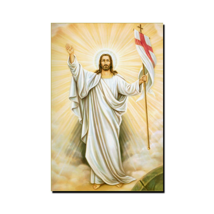 Jesus Holding a Banner Modern Canvas Art Prints Poster Wall Painting Scroll Painting Artwork Wall Art Pictures Home Decoration in Painting Calligraphy from Home Garden