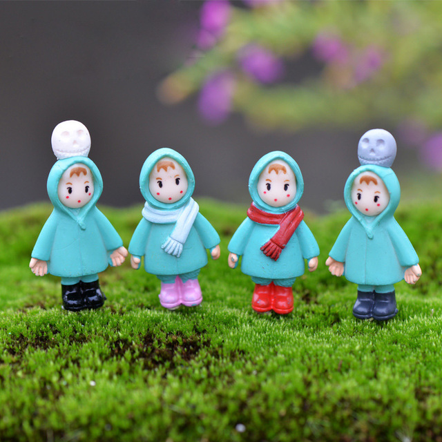 4pc Cute Christmas Girl Miniature Fairy Garden Home Houses Decoration Mini  Craft Micro Landscaping Decor DIY