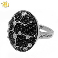 Hutang Sagittarius Zodiac Natural Black Spinel & White Topaz Ring Solid 925 Sterling Silver Women's Fine Jewelry Birthday Gift