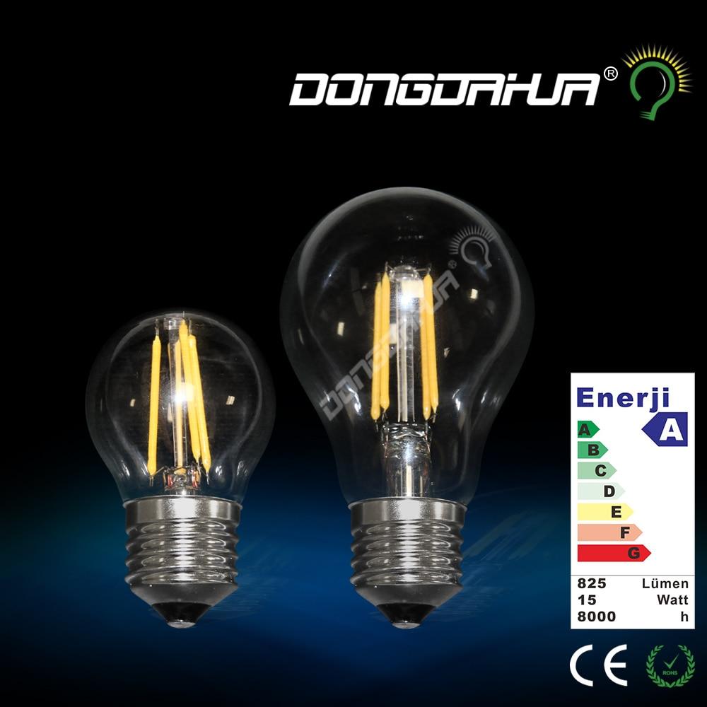ФОТО led bulb e27 light filament of glass bulb g45 a60 220 v to 240 v 4 w 6 w lamp retro Energy saving and environmental protection