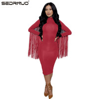 Sexy Club Dress 2015 Women Autumn Winter Party Dresses Long Sleeve Tassel Bandage Dress Vestidos Plus