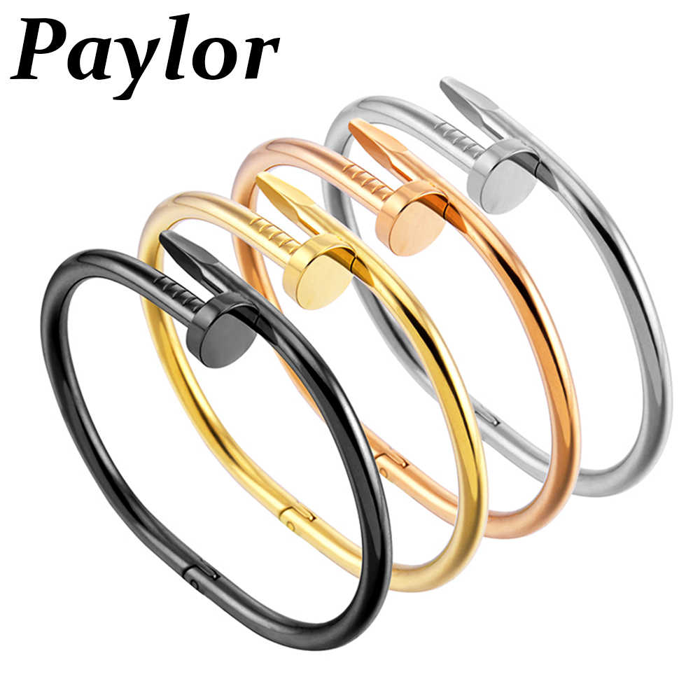 Paylor Hot Sell Nail Cuff Bangles Copper Bracelets for Women Gold Pulsera Jewelry Stainless Steel Screw Bracelet Pulseiras