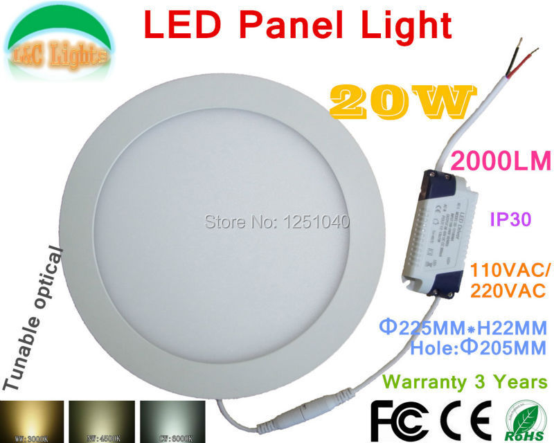 20W Round Tunable optical LED Panel Light,110VAC/220VAC,Commercial,Indoor <font><b>Lighting</b></font>,Warranty 3 Years,LED Downlight,5PCs a lot